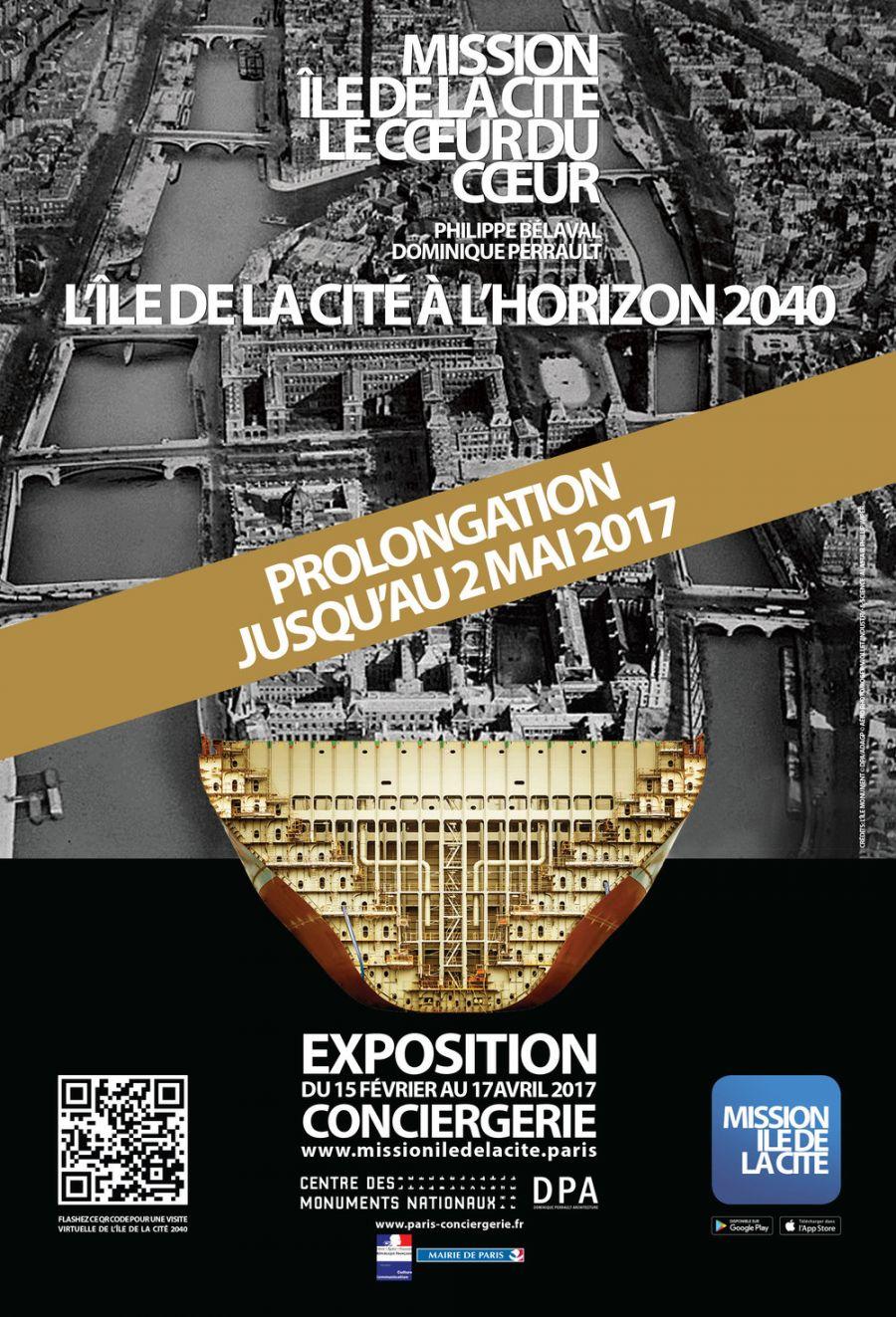 """Affiche de l'exposition """"Mission Île de la Cité"""" à la Conciergerie"""