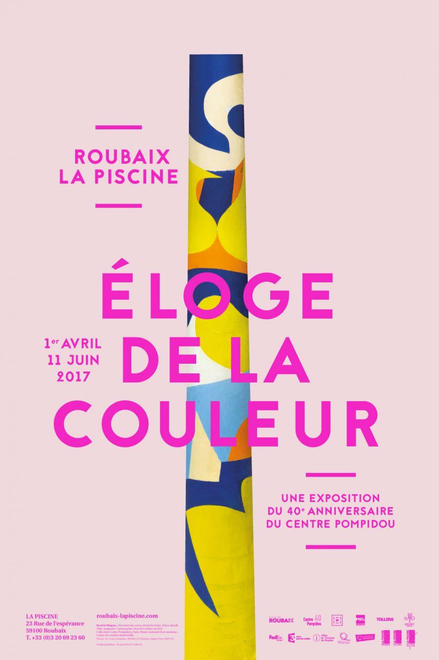 """Affiche de l'exposition """"Eloge de la couleur"""" à La Piscine - Musée d'Art et d'Industrie André Diligent"""