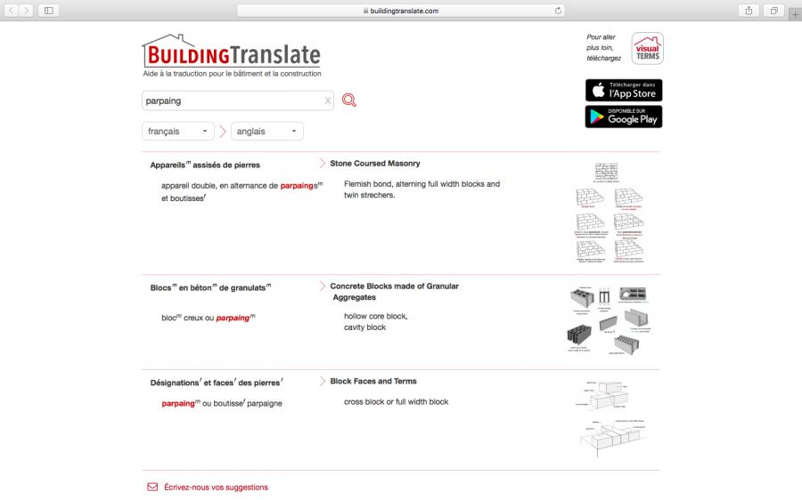 Capture d'écran du site web BuildingTranslate.com