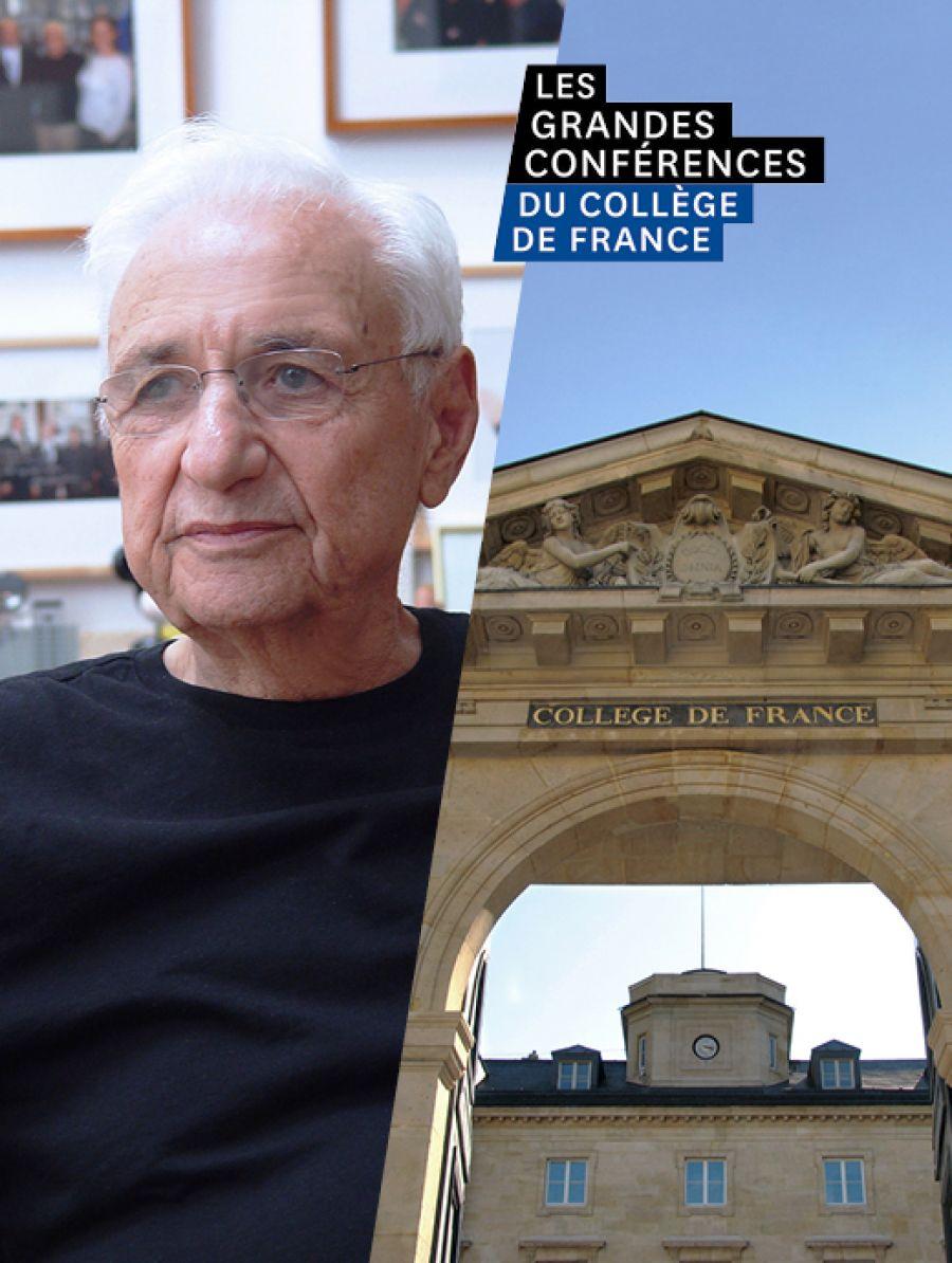 Affiche de la conversation entre Frank Gehry et Jean-Louis Cohen au Collège de France