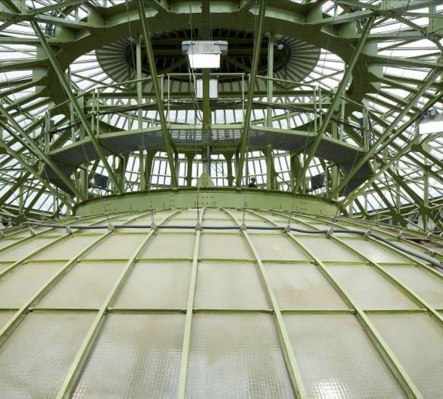 Structure de la verrière et du plafond verrier après restauration © Antoine Mercusot