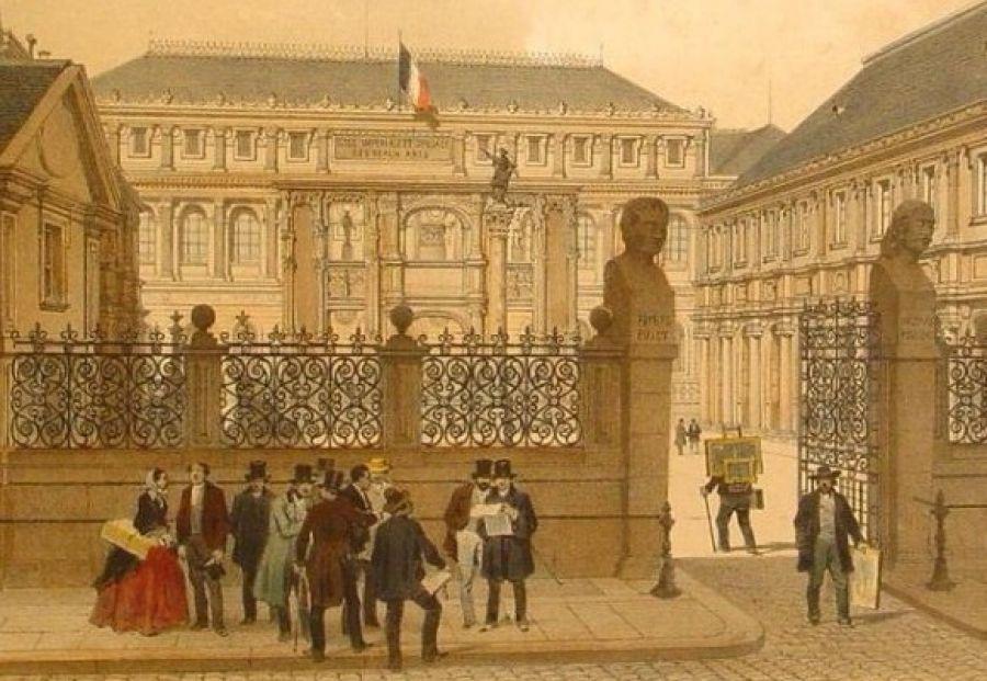 École des Beaux-Arts, in 'Paris dans sans splendeur' 1861 (Collection de l'auteur) - via Paris-Malaquais.archi.fr