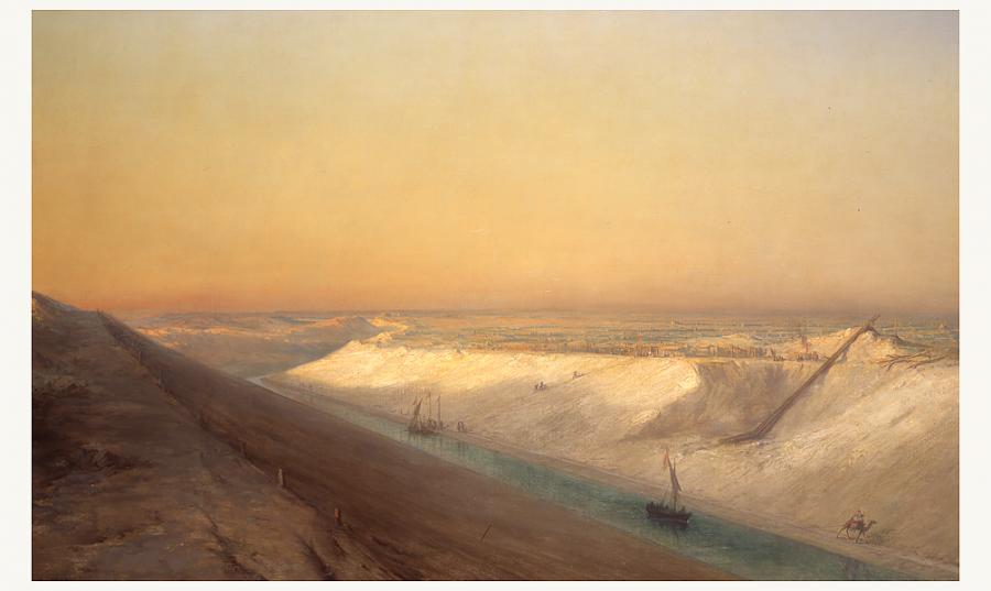 François Pierre Barry, « Le Chantier [du canal de Suez] », 1863 | DR - via www.imarabe.org