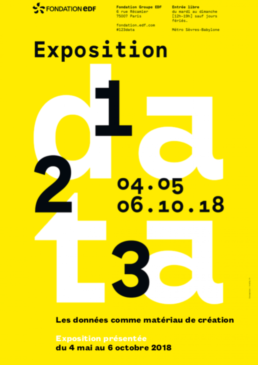 "Affiche de l'exposition ""1, 2, 3 Data"" à la Fondation EDF"