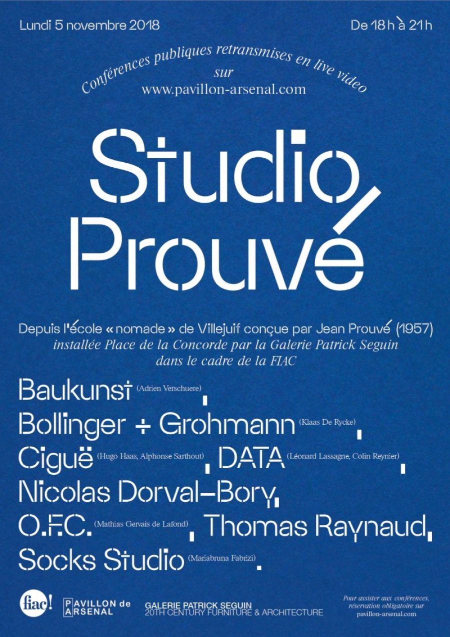 Affiche de l'événement Studio Prouvé lundi 5 novembre à Paris - DR
