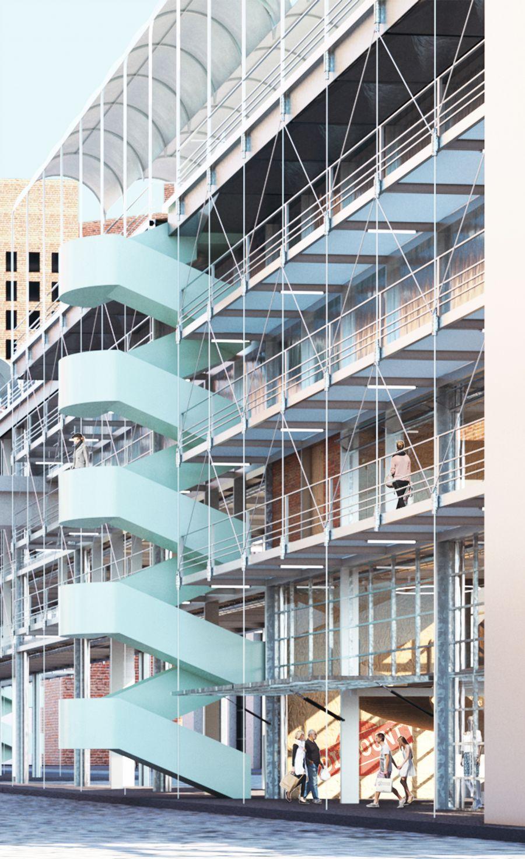 Premier prix : Detroit.maj par Julien Desbat et Julien Picard de l'ENSA Nantes - Image via ConstruirAcier