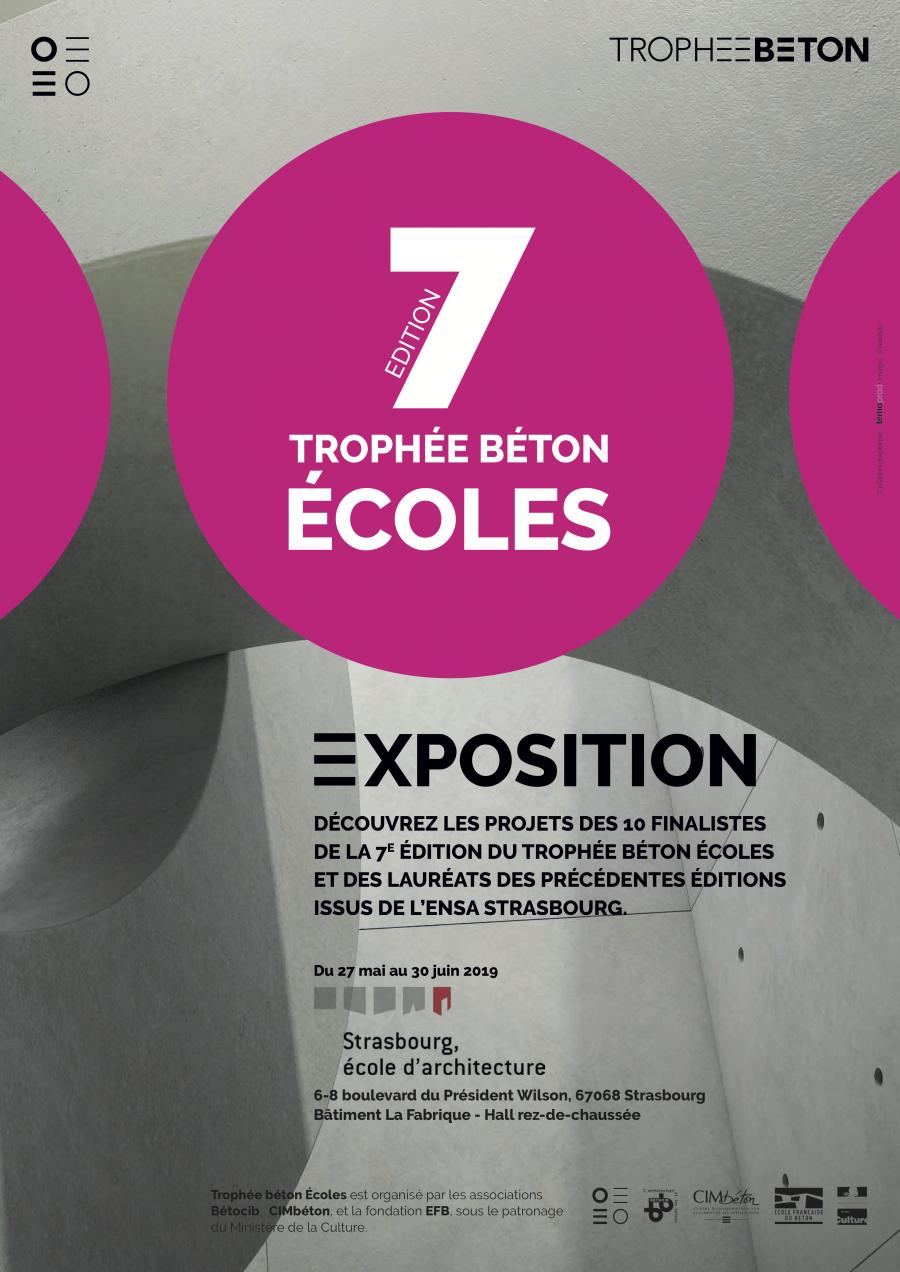 """L'exposition """"Les 10 projets lauréats du Trophée béton Écoles 2018-2019"""" aura lieu jusque 30 juin à l'ENSA Strasbourg"""