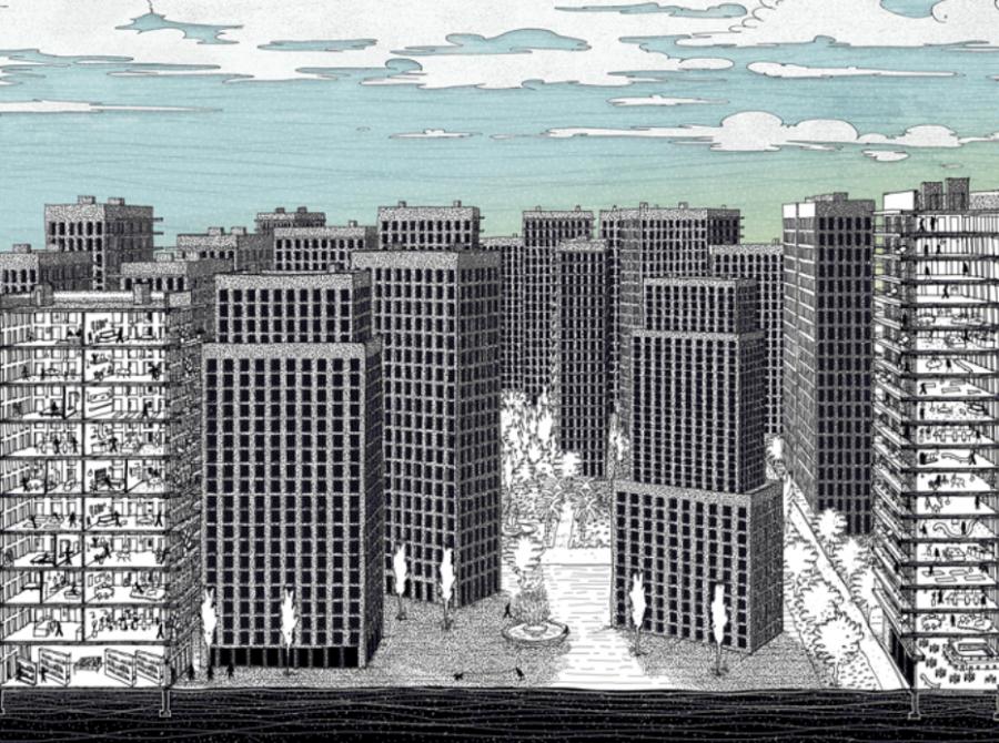 Illustration réalisée à la tablette graphique par felix-illustra et Chloé Bordjah, Avril 2020 © Pavillon de l'Arsenal