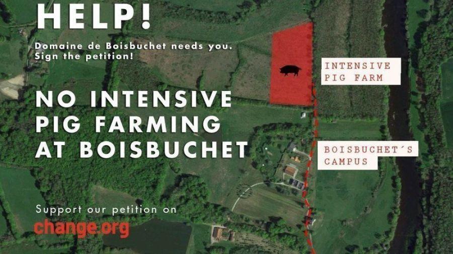 Un engraissement de porcs mine la culture à Boisbuchet - Stop it before it is too late ! © Domaine du Boisbuchet, Changes.org