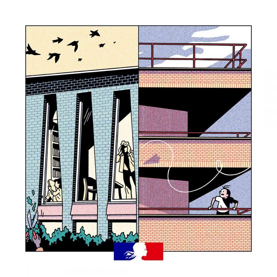 Journées Nationales de l'Architecture, 6e édition © Ministère de la Culture, illustration : Lucas Harari ; conception graphique : Hadrien Herzog