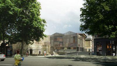 Nouveau bâtiment d'accueil : vue extérieure depuis le boulevard Saint-Michel, projection - dossier de concours © Bernard Des