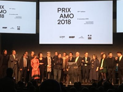 Les lauréats et membres du jury à la soirée de remise des Prix AMO 2018