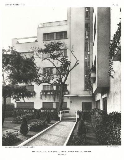 """Immeuble de rapport du 7, rue Méchain - Arch.Mallet-Stevens - Revue """"L'architecte"""", 1930"""
