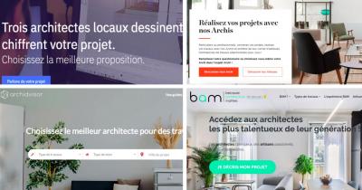 Ces plateformes de mise en relation entre architectes et maîtres d'ouvrages constituent de nouveaux acteurs dans l'accès à la commande des architectes - Images : Capture d'écran des sites web